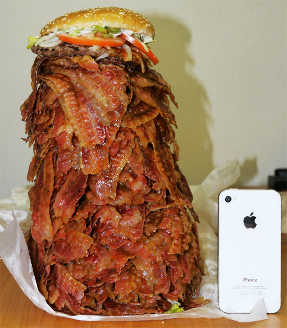 We Order Whopper With 1050 Bacon Strips, Struggle to Level Comically Huge Burger