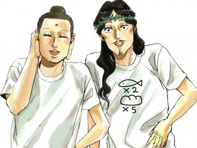 """Hilarious Comic About Room-Sharing Jesus and Buddha, """"Saint Onīsan"""", to Become Animated Movie"""