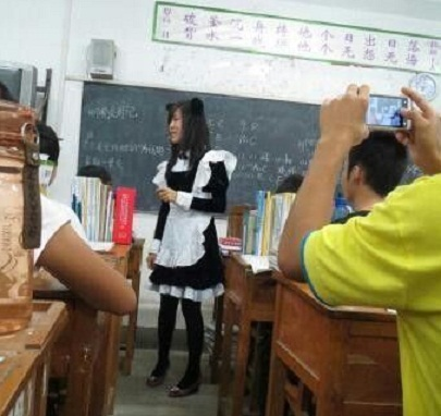 Chinese Teacher Makes Good on Promise to Class, Wears Maid Outfit to Reward Top Grades