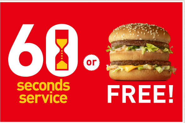 McDonald's Guarantees Your Order in 60 Seconds or You Get a Free Burger, Employs Actual Hourglass