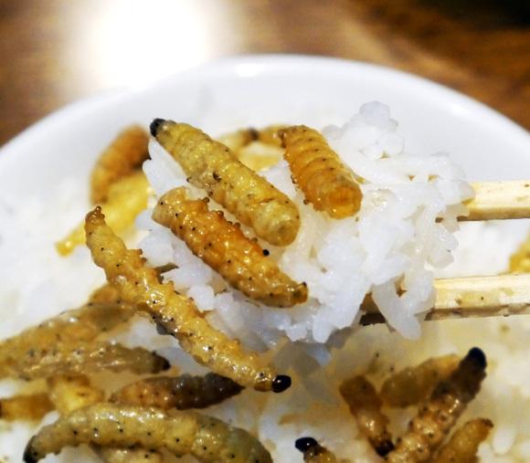 imomushi rice close up
