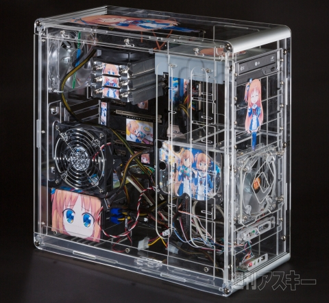 "Custom-Made Transparent ""Pain PC"" Featuring Window8 Moe Mascots, Yuu & Ai Madobe"