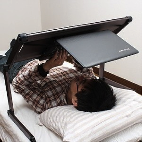 """Lazy Slobs Rejoice: Upside-down """"Desk"""" To Use While You Snooze"""