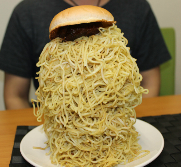Lotteria Mega Ramen Burger Challenge: Mr Sato Takes on a Tower of Carb Power