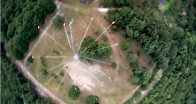 Fireworks filmed from above by flying camera