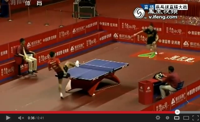 Table tennis champ Zhang Jike wins tense rally… with his foot