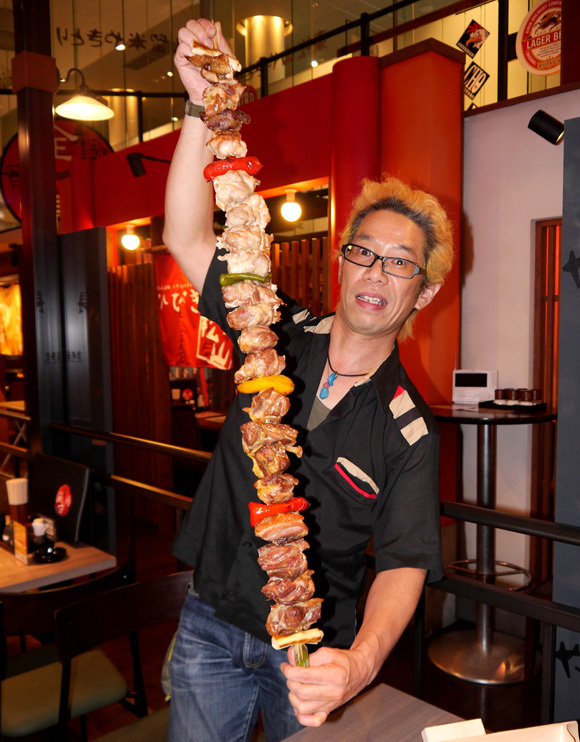 We try one meter of skewered grilled chicken: The Mega-Yakitori