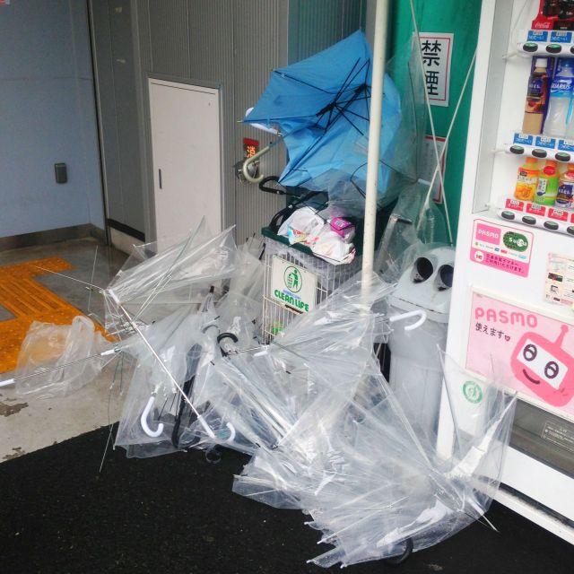 Japan under siege by broken umbrellas