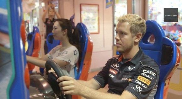 F1 driver visits Japanese game arcade, burns pixels on Mario Kart