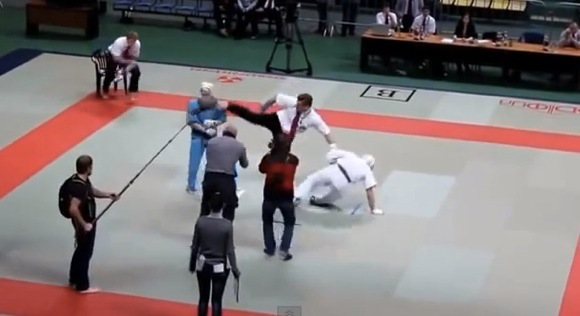 Video shows karate ref flipping out and defeating both fighters