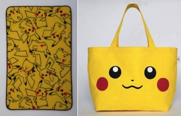 Super cute Pikachu-plastered blanket, canvas bag to accompany fan mags