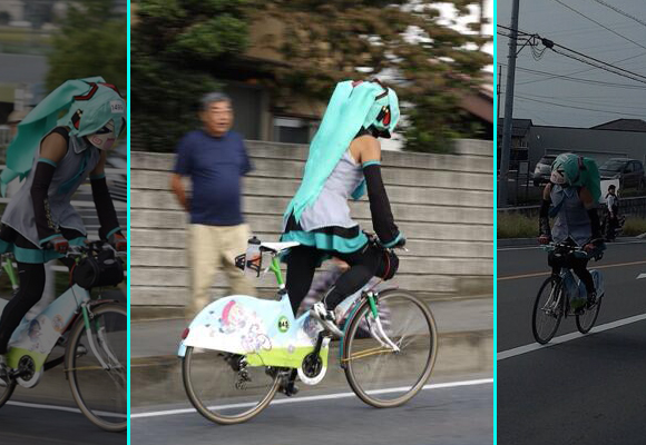 Hatsune Miku sightings spring up during uphill bike race