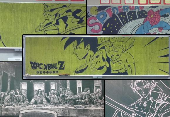 Saiyans, pirates, and Jesus all come alive on Japanese blackboards