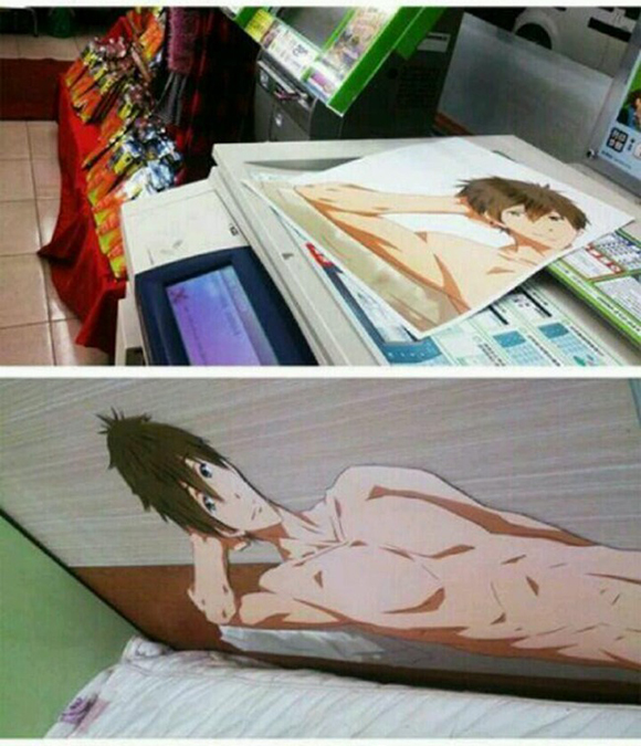 Fan of recent swimming anime, Free!, finds clever way to crawl into bed with the characters