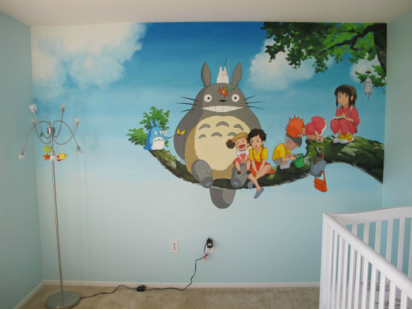Parents create amazing Studio Ghibli mural for daughter's nursery before she's even born