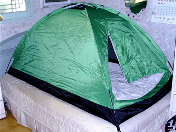 Bedroom tents helping South Koreans keep warm this winter