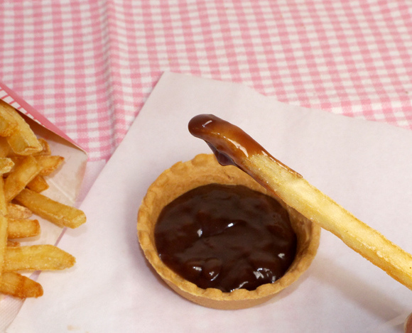 french fries and chocolate sauce