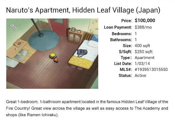 Naruto's fictional apartment valued at $100K