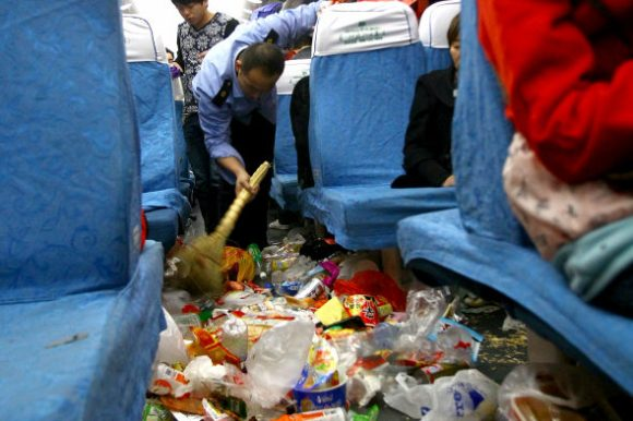 What's worse than overcrowded trains? Overcrowded trains filled with garbage1