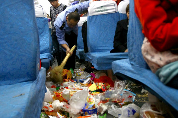 What's worse than overcrowded trains? Overcrowded trains filled with garbage