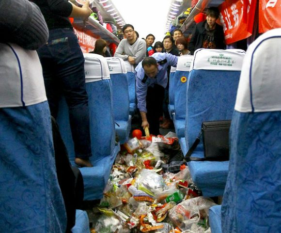 What's worse than overcrowded trains? Overcrowded trains filled with garbage4