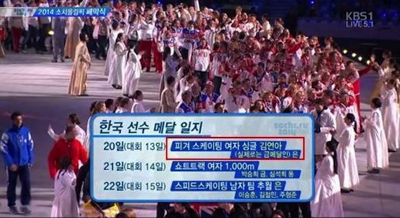 Korean broadcast asserts Yuna Kim's gold medalist status at Sochi Olympics with cheeky subtitle