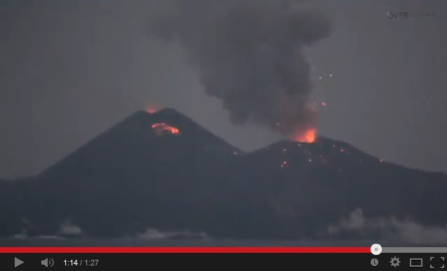 Fiery balls of lava erupting from Nishinoshima eruption caught on video
