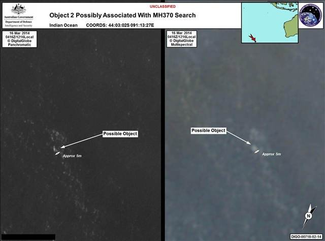 Here's a satellite photo of debris that could be from the missing plane