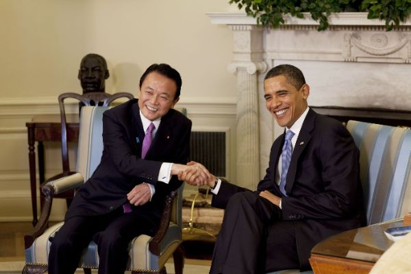 Former PM Taro Aso celebrates Obama's visit with one of his typically inappropriate comments