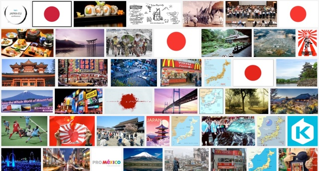 Searching 'Japan' on Google Images in 17 different countries (Korea's results? Just plain weird)