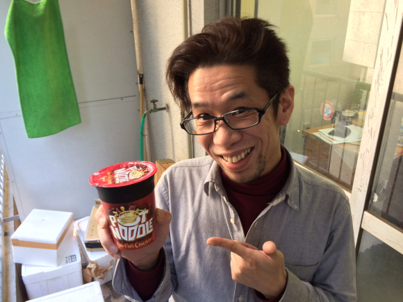 Our Japanese staff try British cup noodles, didn't completely hate the experience