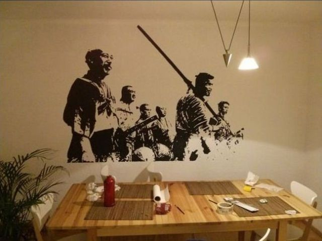 "Guy lifehacks his way to flawless ""Seven Samurai"" wall art"