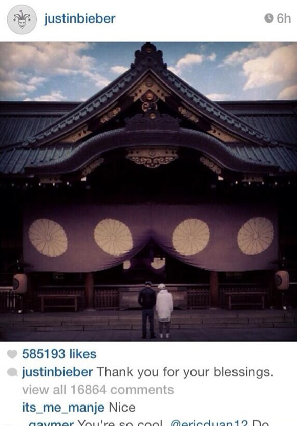 Justin Bieber's Yasukuni Shrine visit draws scorn from Asian fans