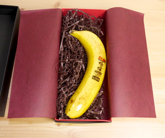 Mr. Sato celebrates Gokusen Day with one of 59 Premium Gokusen Bananas