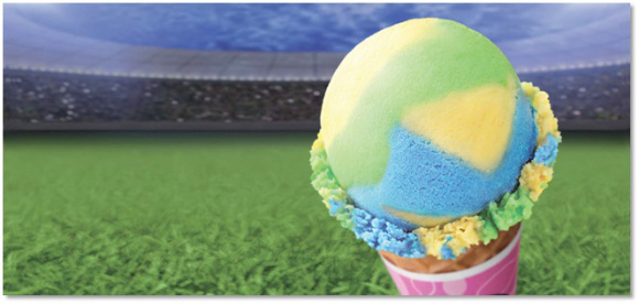 Baskin Robbins Japan gets into the FIFA World Cup spirit — with colorful Brazilian-themed sherbet!