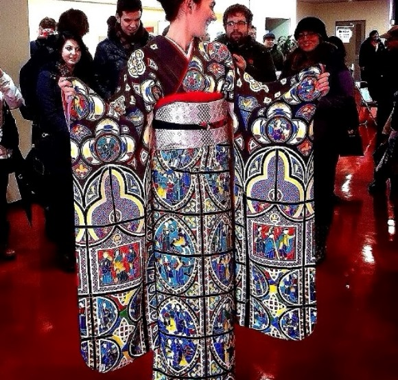 See how beautiful a stained-glass window pattern can be as a kimono!