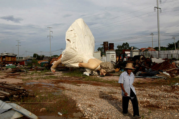 Giant Marilyn Monroe is now face-down in a dump in China