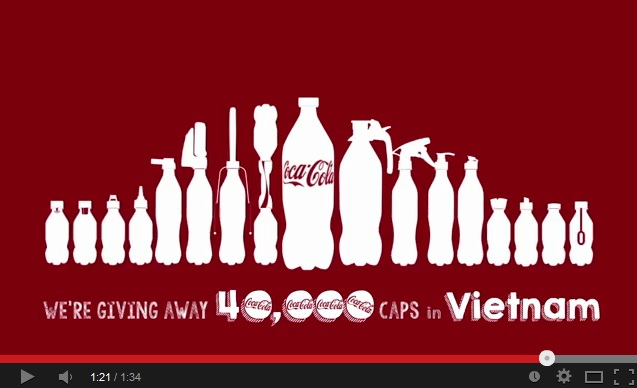 Coca-Cola giving away specialty bottlecaps in Vietnam to promote reusing their plastic bottles