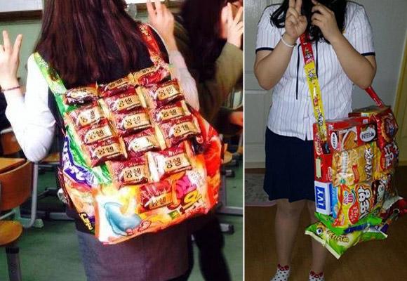 Forget snack packs, South Korean school girls sporting full-on snack backpacks