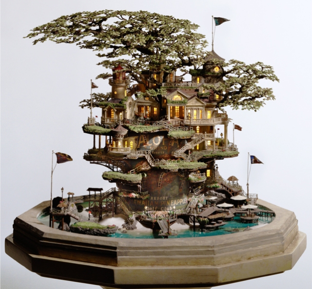 Ninja restaurant designer creates tiny villages in bonsai trees