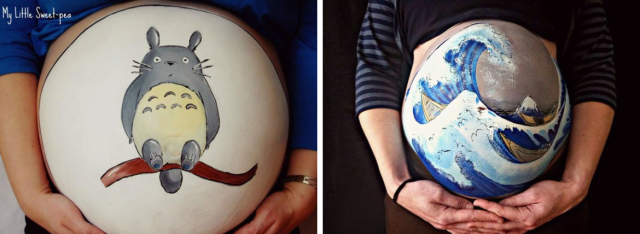 Artist paints Totoro, classic Japanese artwork, and more, all on pregnant women's stomachs