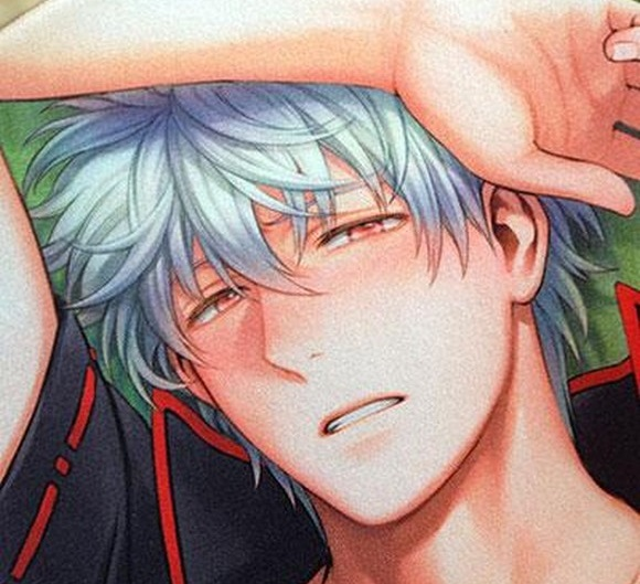 Gintama's protagonist as envisioned by fujoshi: blushing, bare-chested, and super voluptuous!