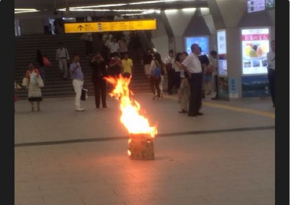 Mysterious fire materializes inside Saitama train station on Tuesday