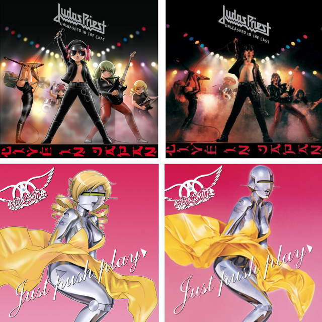 Awesome anime fan art inserts the cast of Madoka Magica into classic rock album covers