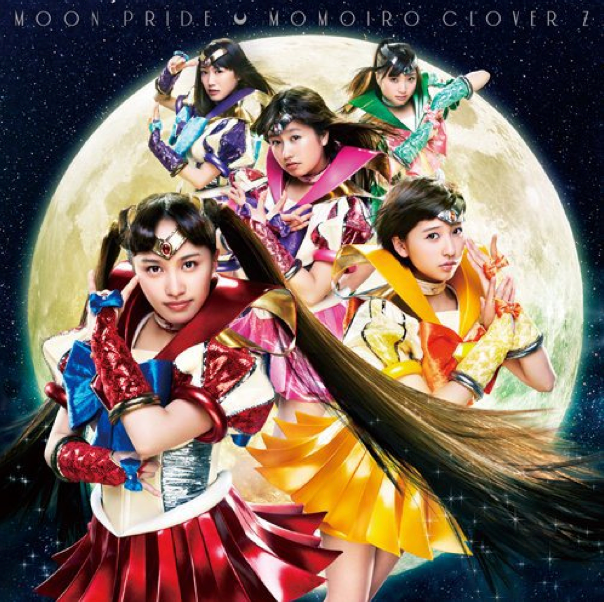 "Momoiro Clover Z cosplay on ""Moon Pride"" CD cover"