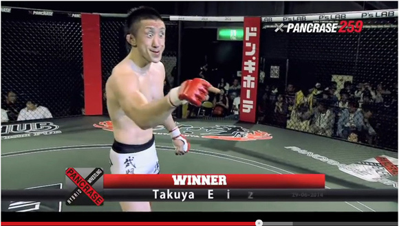 Mixed martial artist shoots to fame by combining victory pose and epic gurning skills