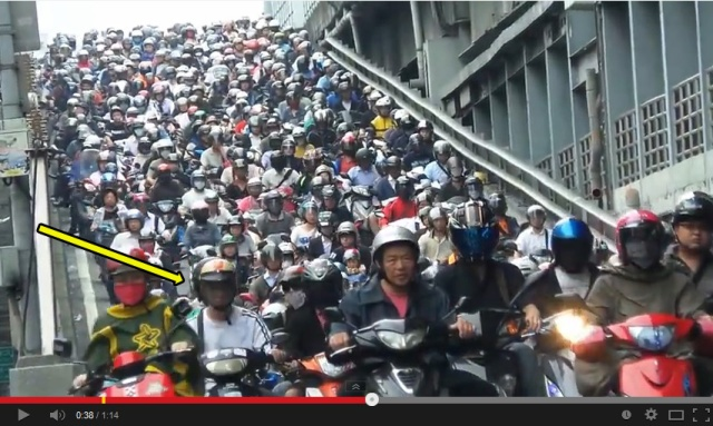 Spot discovered on the Taipei Bridge without a scooter on it