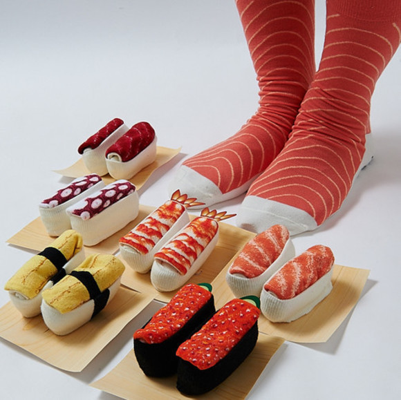 Wrap your feet in raw fish fashion with a pair of sushi socks!