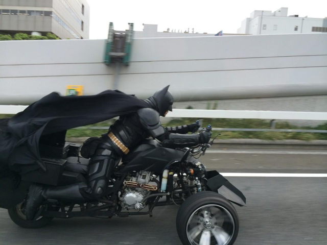 Batman spotted cruising the Japanese expressways as he trades Gotham City for Chiba Prefecture