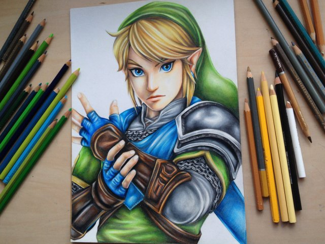 Young artist makes stunning Hyrule Warriors art using just coloured pencils